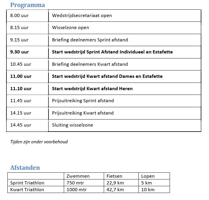 Programma Triathlon Alphen 2019